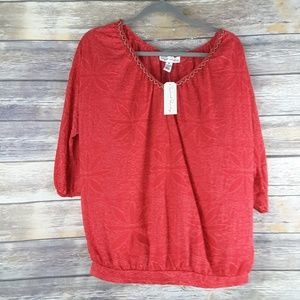 NWT French Laundry medium red top 3/4 sleeve